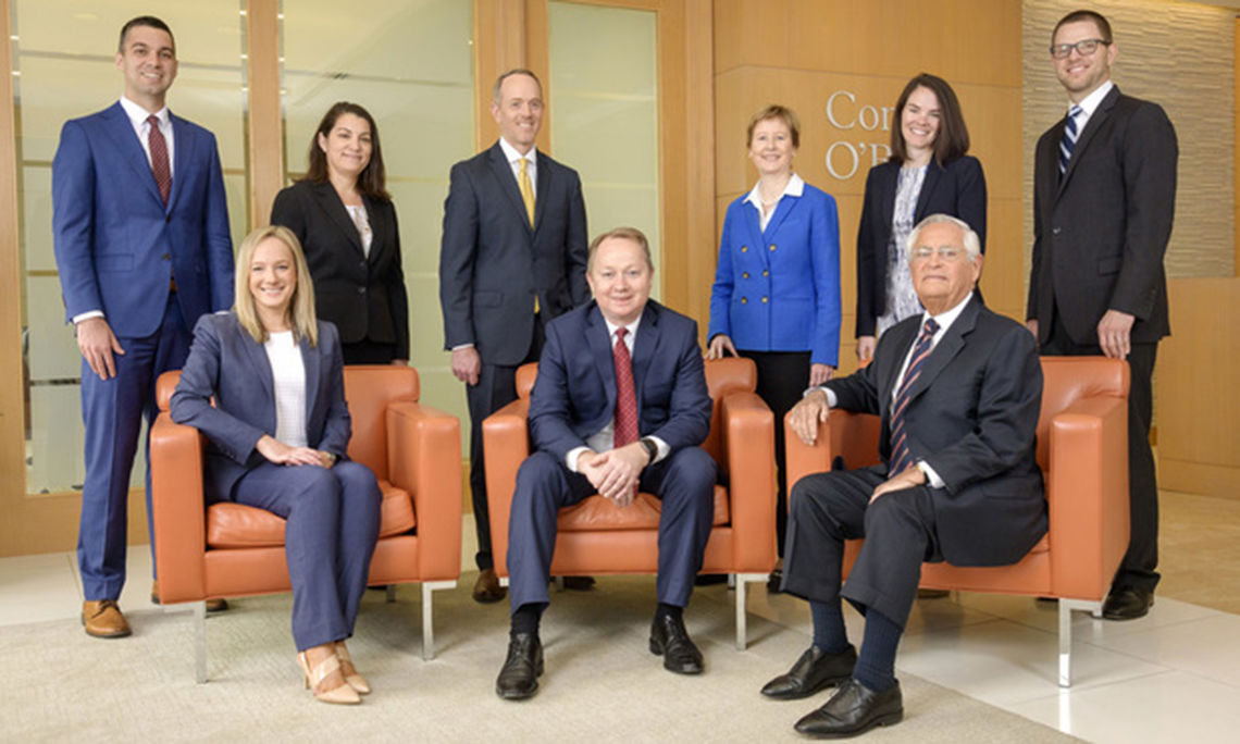 General Litigation finalist: Conrad O'Brien. Standing, left to right, Christopher Lucca, Lorie Dakessian, Kevin Kent, Patricia Hamill, Meghan A. Farley and Joseph Jesiolowski. Seated, left to right, Stacy Orvetz, Nicolas Centrella and Louis Fryman.
